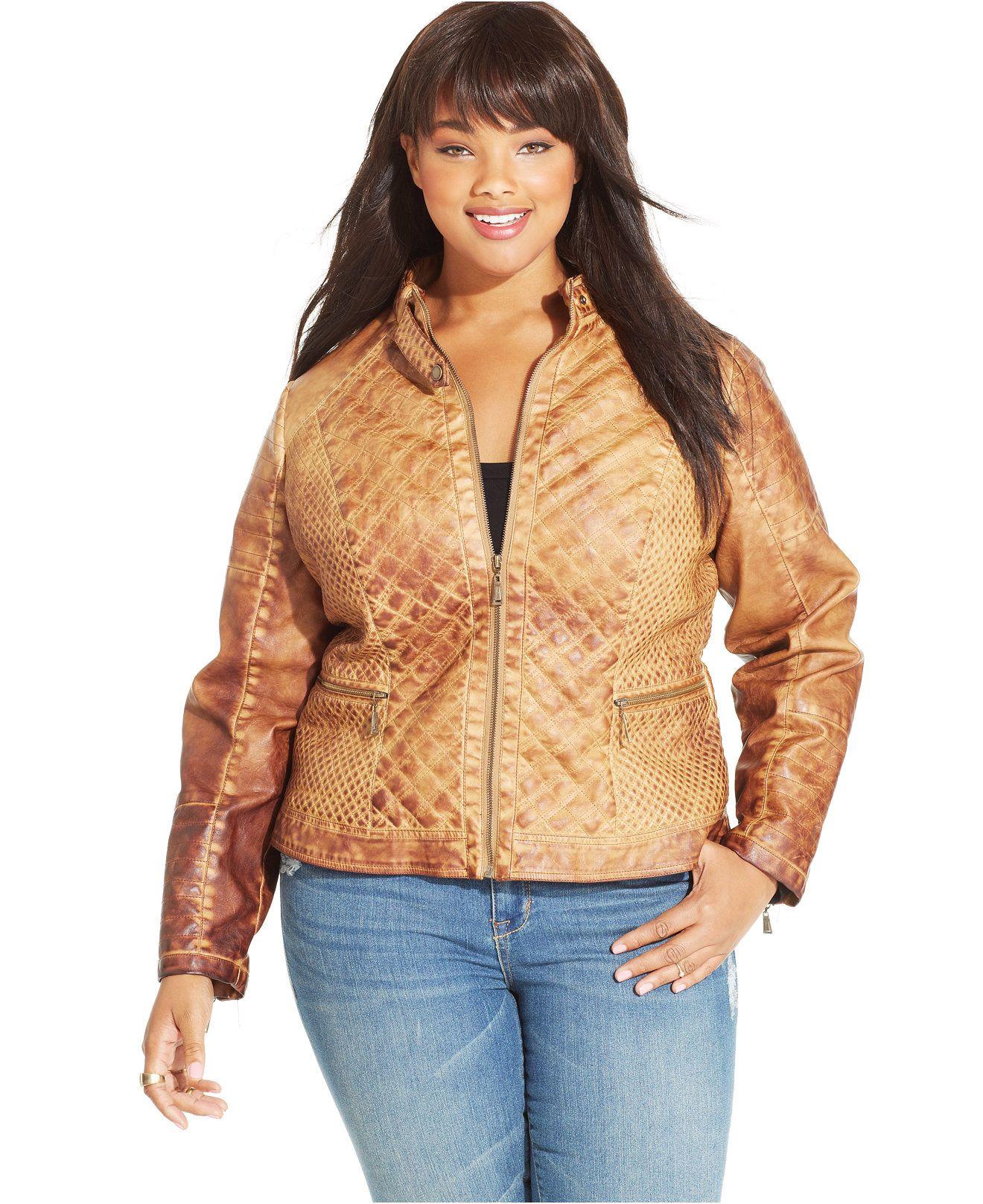 Jou Jou Plus Size FauxLeather Quilted Jacket Coats