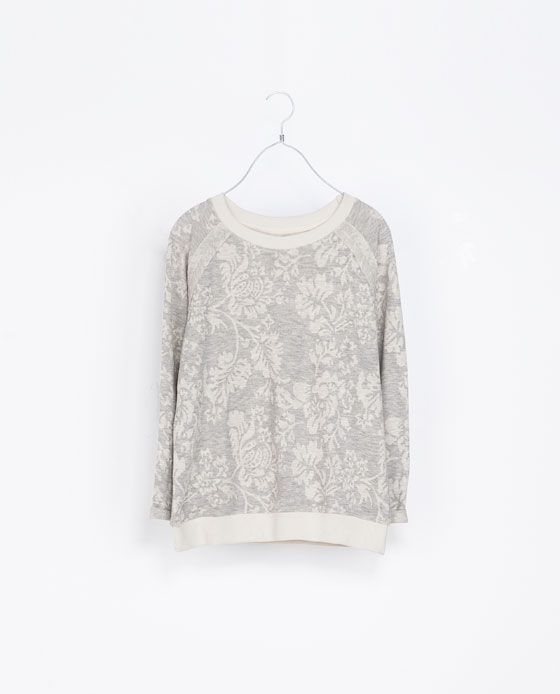FLORAL TAPESTRY VELOUR SWEATER from Zara A/W 2013