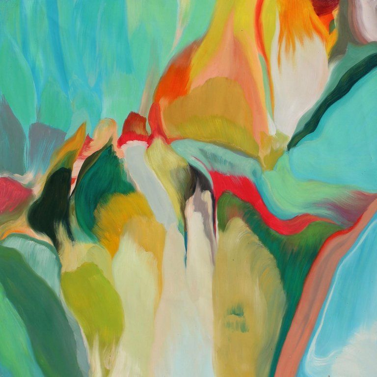 Irena Orlov Red Yellow Turquoise Abstract Oil Painting