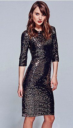 gold knee length sequin