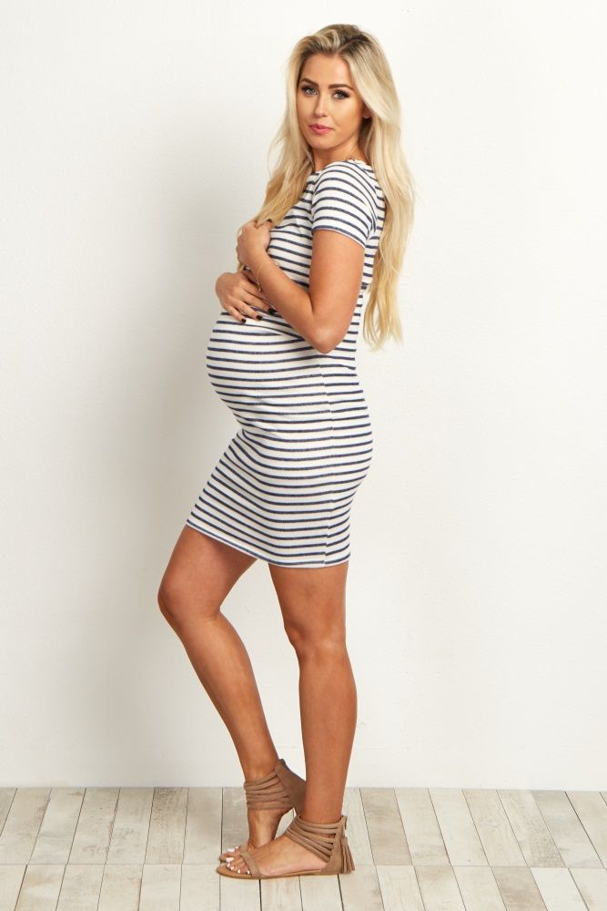 92fa163c1f0 Ivory Navy Blue Striped Fitted Short Sleeve Maternity Dress