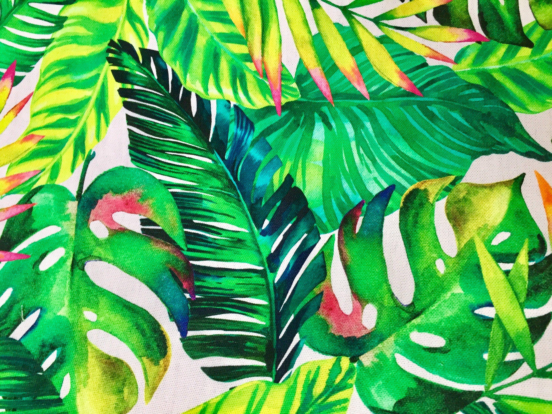 Hojas de Palma Verde Cortina De Tela De Algodón Tapicería Tropical hoja de 140cm de ancho