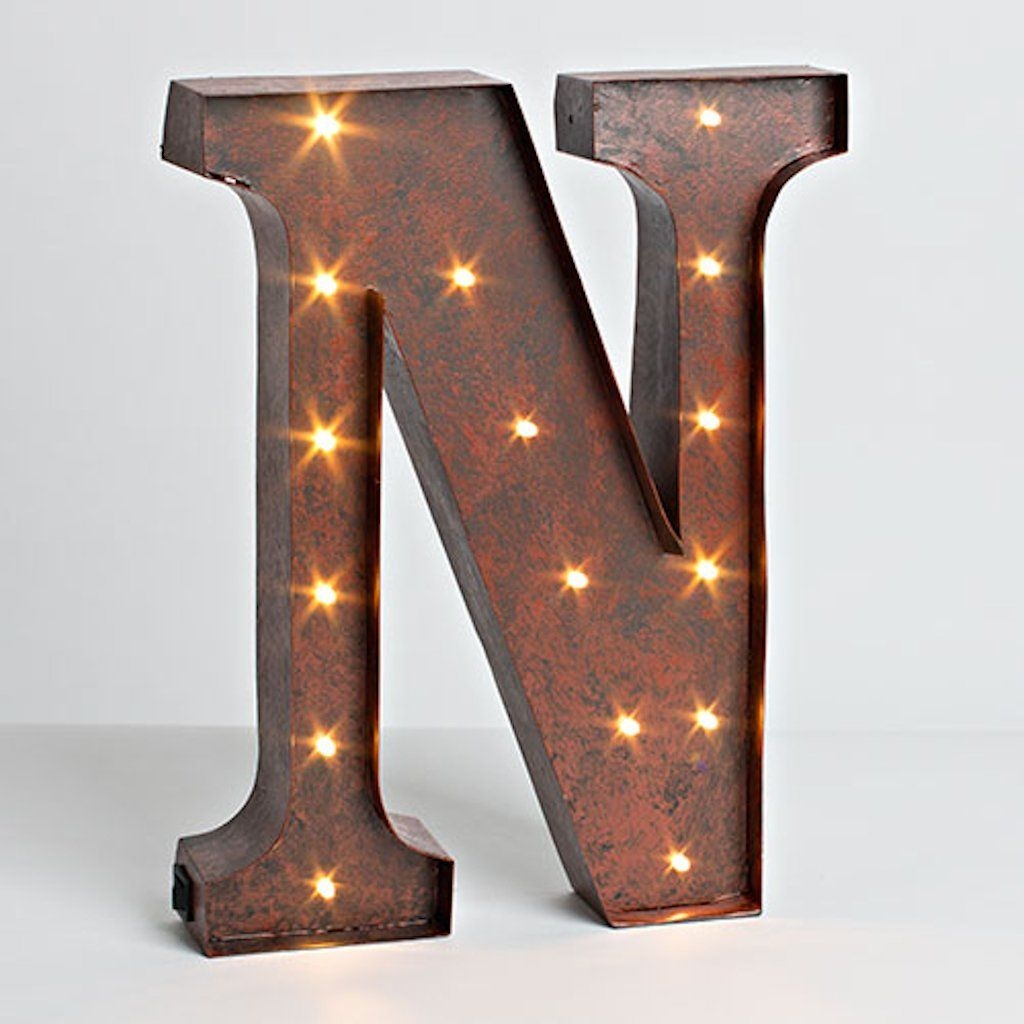 "Brown Metal Letters Rustic Brown  Metal  Battery Operated  Led  Lighted Letter ""n"