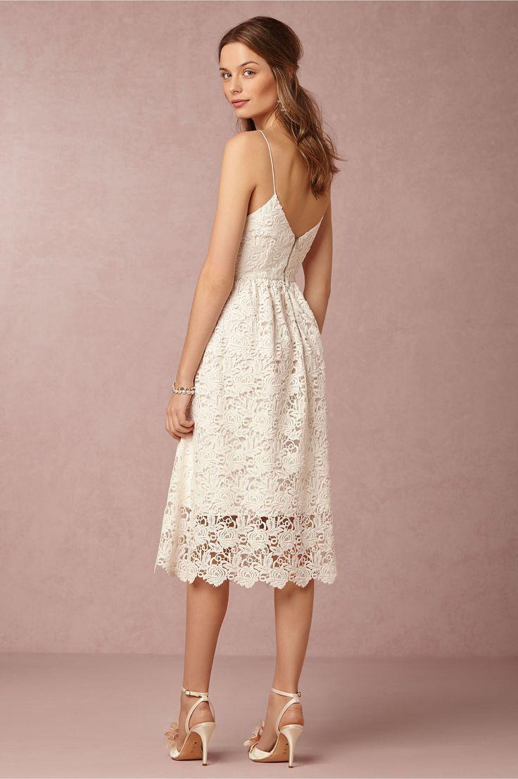 A-line Spaghetti Straps Tea-length Lace Fabric Elegant Bridesmaid ...