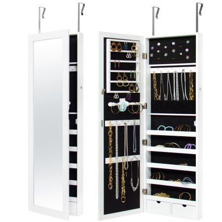 Best Choice Products Mirrored Lockable Cabinet Armoire Organizer W Door Hanging Hooks Wall Mount Keys White Walmart Com Jewelry Cabinet Mirror Jewellery Cabinet Jewelry Mirror