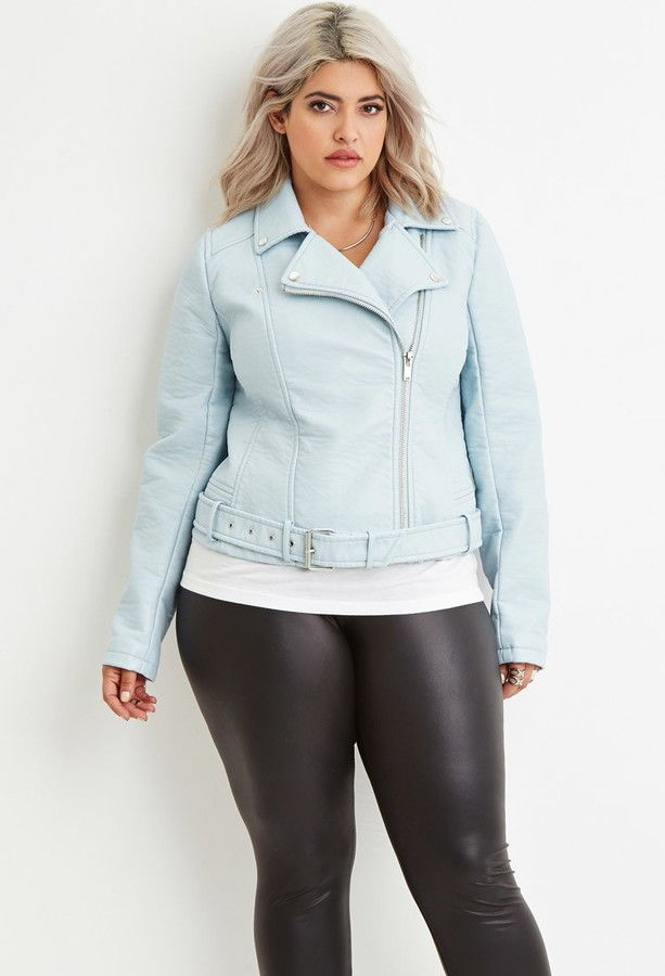 e56a7497f5f FOREVER 21+ Plus Size Faux Leather Moto Jacket