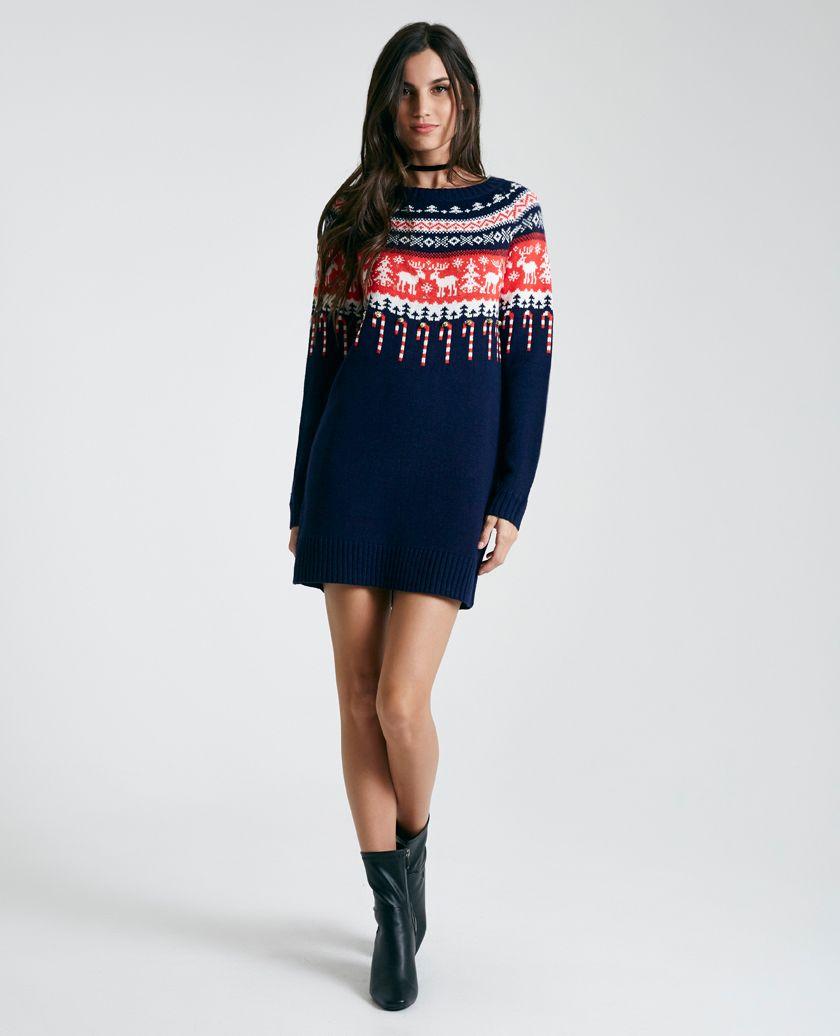 Reindeer Fair Isle Christmas Sweater Dress   Wet Seal   UGLY ...