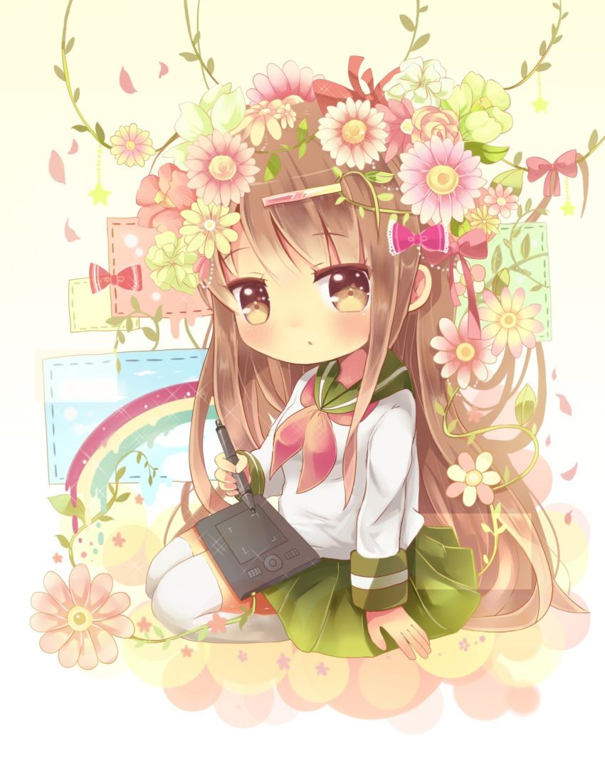 A flower girls garden  Anime chibi, Chibi girl, Kawaii chibi