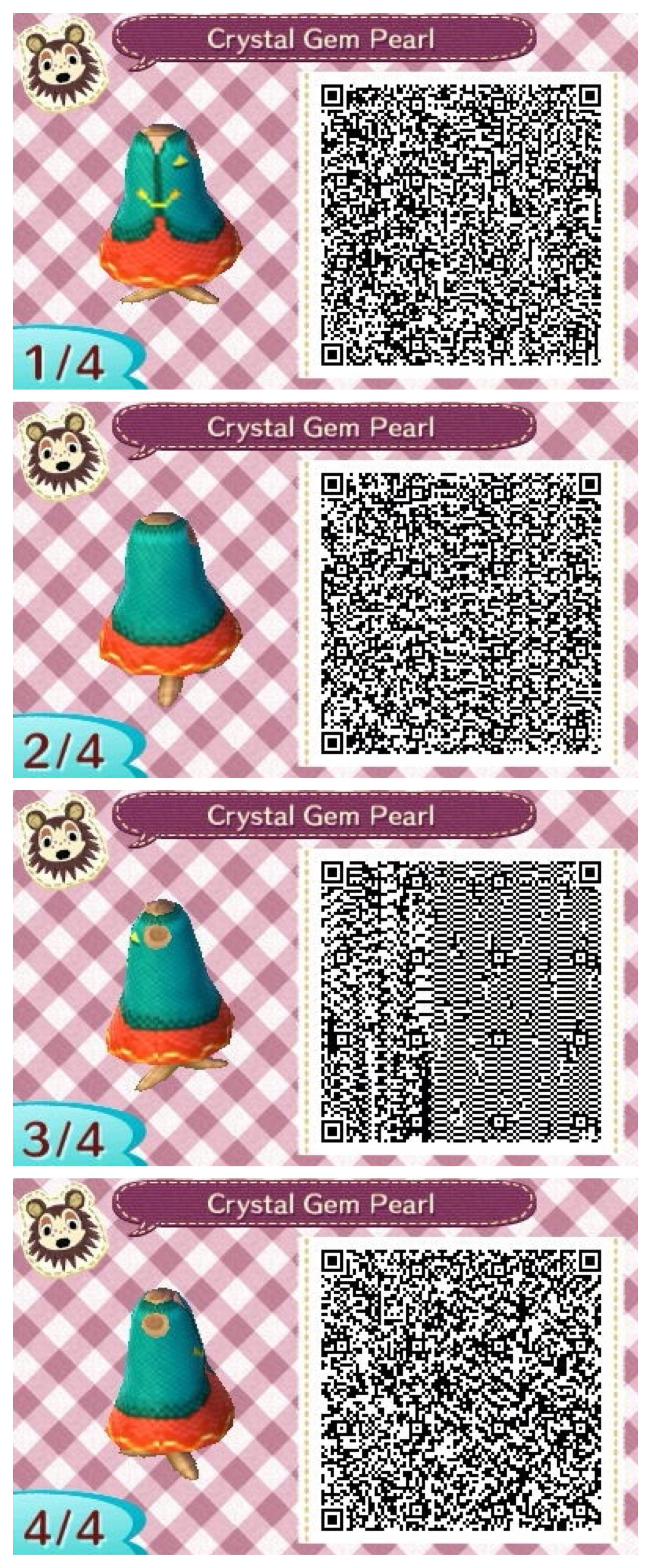Pearl Steven Universe Themed Animal Crossing New Leaf Qr Code Made By Elle From Appleto Animal Crossing Animal Crossing Qr Animal Crossing Qr Codes Clothes
