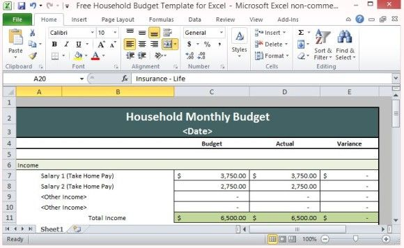 Budget Spreadsheet for Every Household Family Activities  Tips - sample spreadsheet