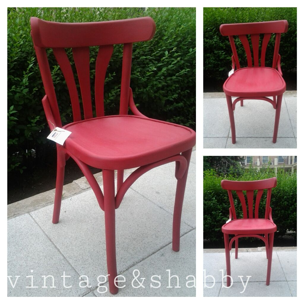 Vintage thonet style cafe chairs with stenciled seats - Silla Thonet Pintada En Rojo Bistro Chair Painted Red