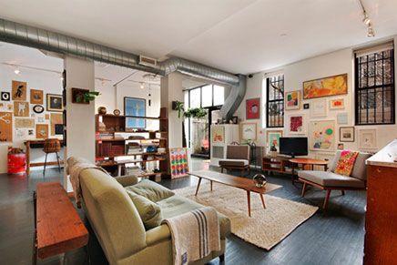Vintage woonkamer loft in New York | Inrichting-huis.com | Houtskool ...