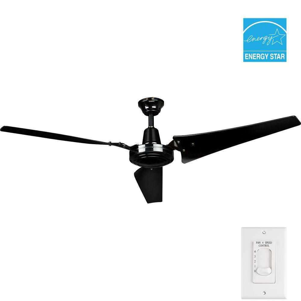 Hampton Bay Industrial 60 In Indoor Black Ceiling Fan With Wall Control 26829 Black Ceiling Fan Ceiling Fan Ceiling Fans For Sale