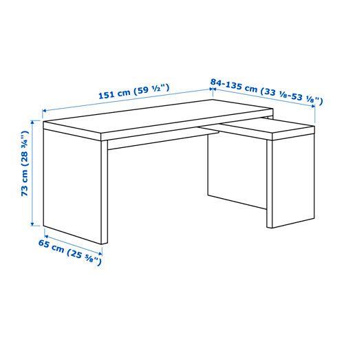 Malm Schreibtisch Mit Ausziehplatte Weiß In 2019 Ikea