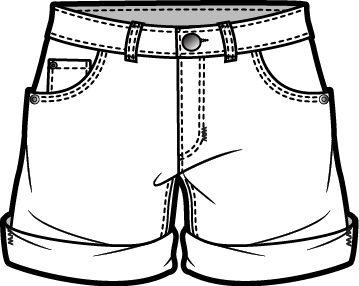 denim shorts technical fashion drawing pinterest