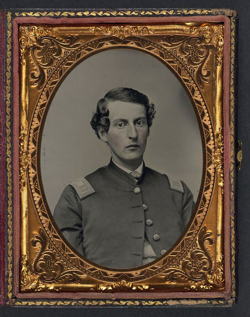 (c. 1861-1865) Soldier in Union captain's shell jacket