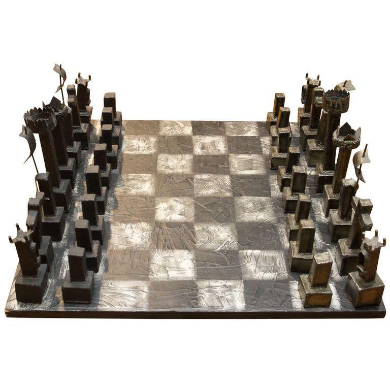 Rare Brutalist Welded Steel Chess Set by Paul Evans Paul evans