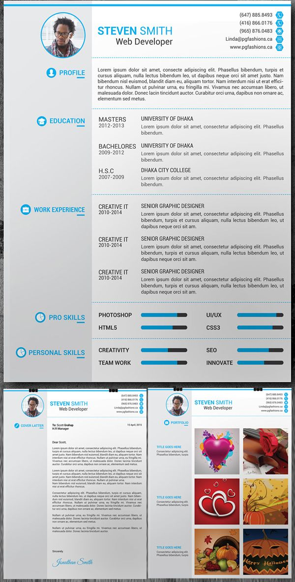 Free Resume, Cover Latter, Portfolio PSD Template Free stuff - creative free resume templates