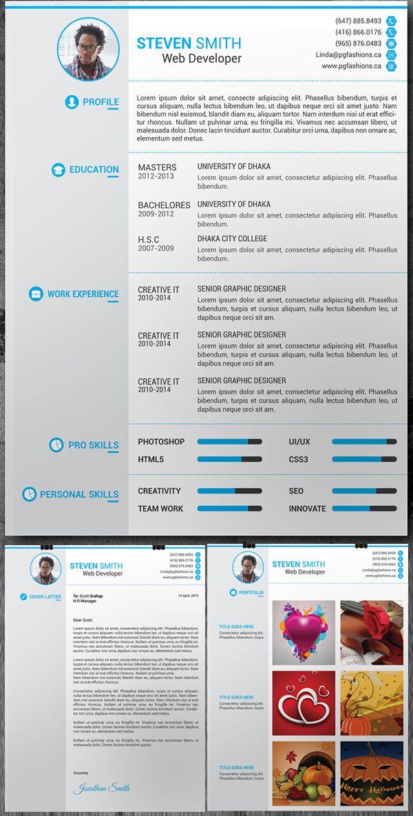 Free Resume, Cover Latter, Portfolio PSD Template Resume