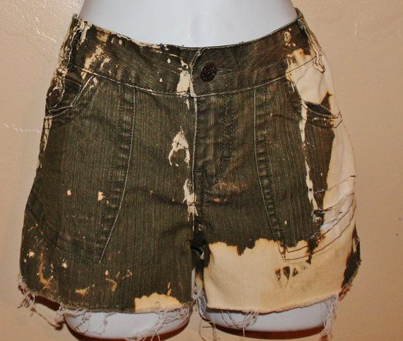 Acid wash Distressed Mudd Olive color jean shorts by Foreverpeace, $10.99