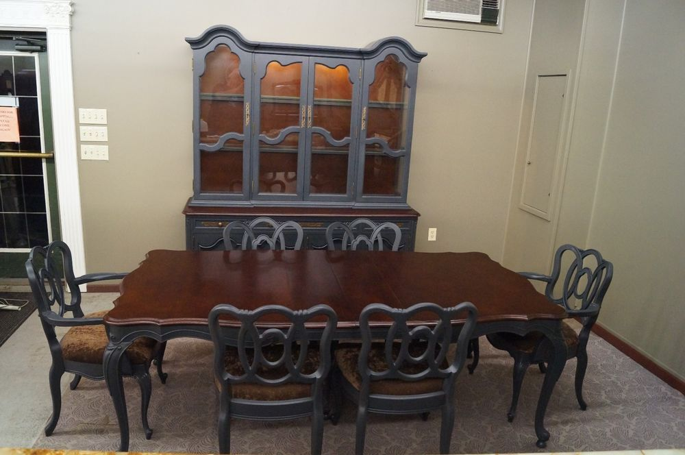 Vintage French Country Provincial Dining Set Table And 6