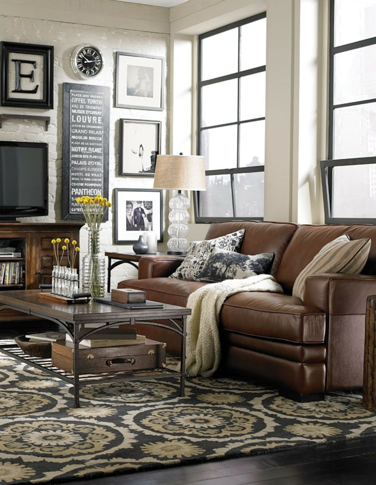Love This Room. Brown Leather, Rustic Wood, Black And White Frames,  Distressed Light Brick.