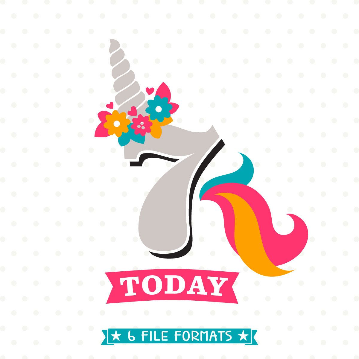 7th birthday svg unicorn birthday svg girls birthday svg
