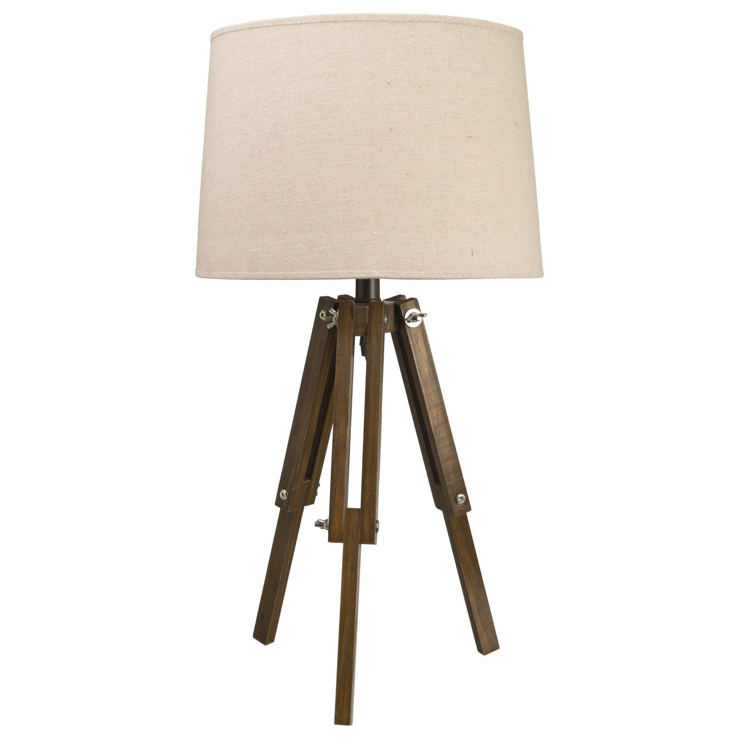 Nice Colonial Vintage Style Tripod Table Lamp Natural Light Shade Dark Wood Legs  NEW
