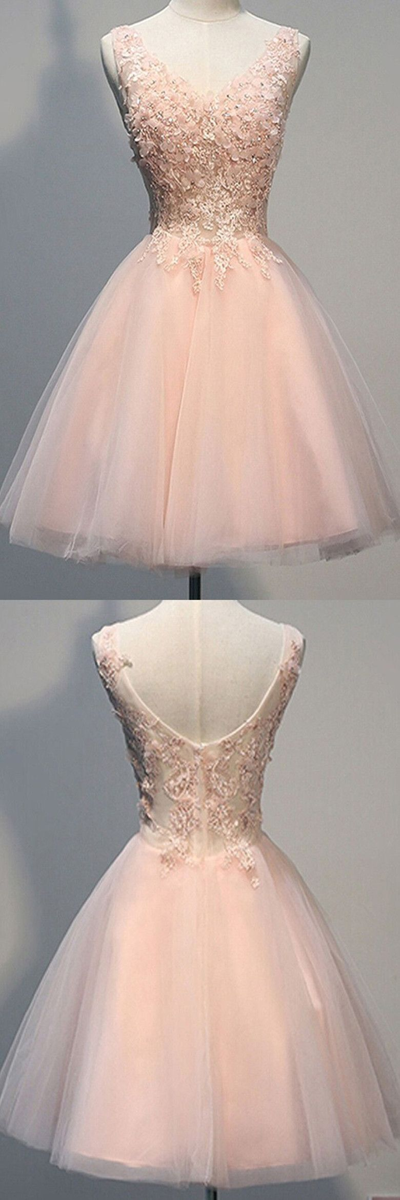 Awesome V-neck Sleeveless Knee-Length Pearl Pink Open Back Homecoming Dress with Appliques #backlesscocktaildress