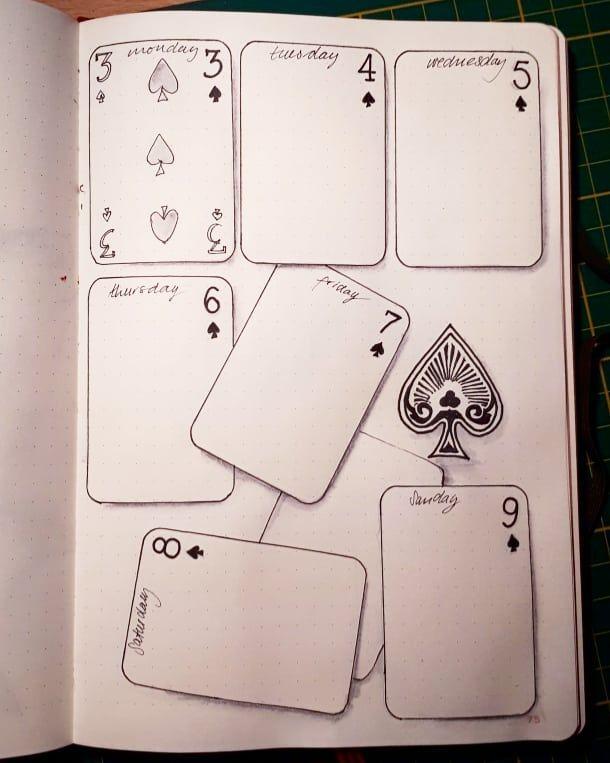 "Debsbujo on Instagram: ""This weeks spread in the playing card theme. . . . #bujo #bulletjournal #weeklyspread #weekly #penandwatercolour #playingcardsart…"""