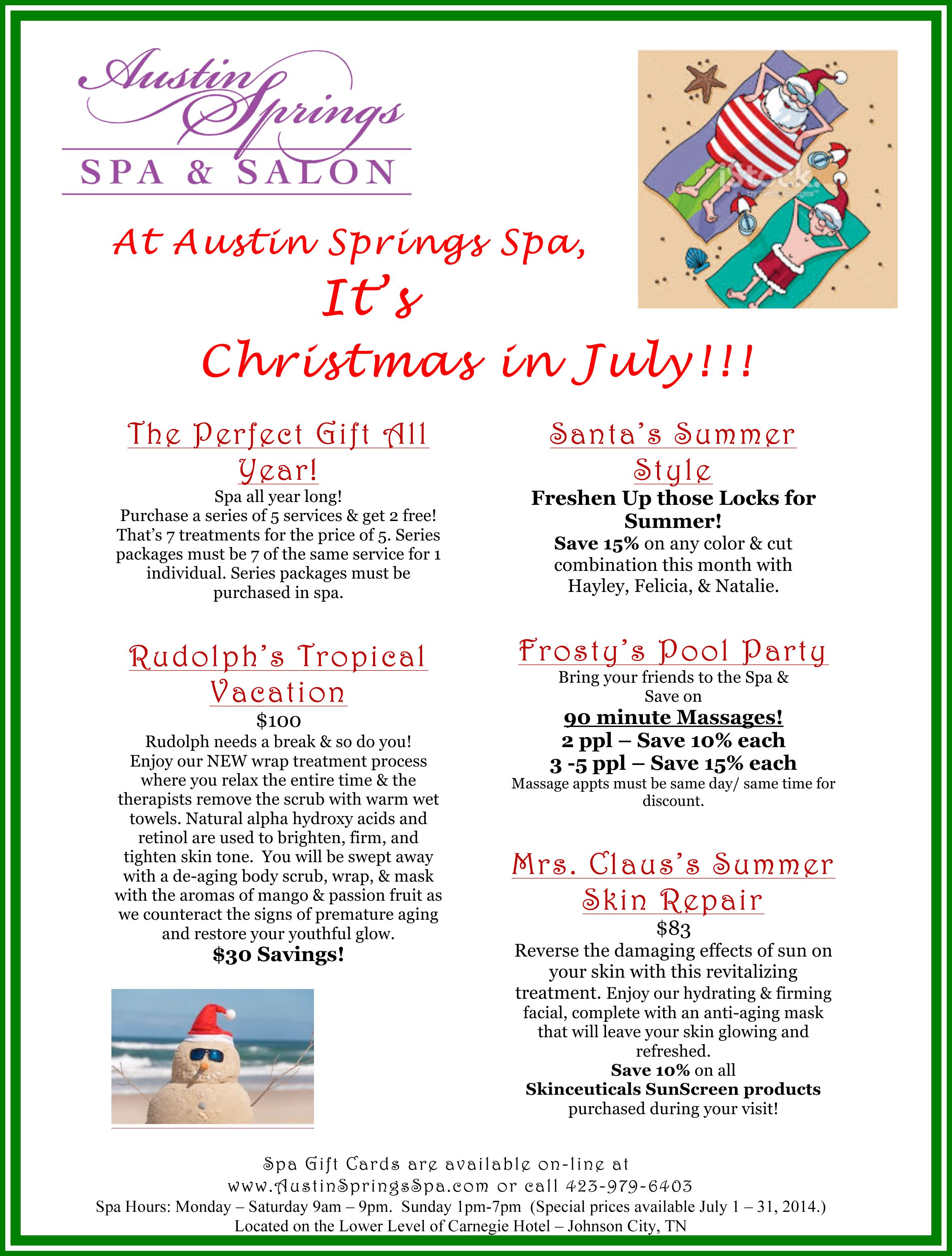 Christmas Spa Packages.Tis The Season To Celebrate Our Christmas In July Specials