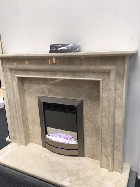 Our Monte Carlo Fireplace In Creme Classico Marble At Fireplace