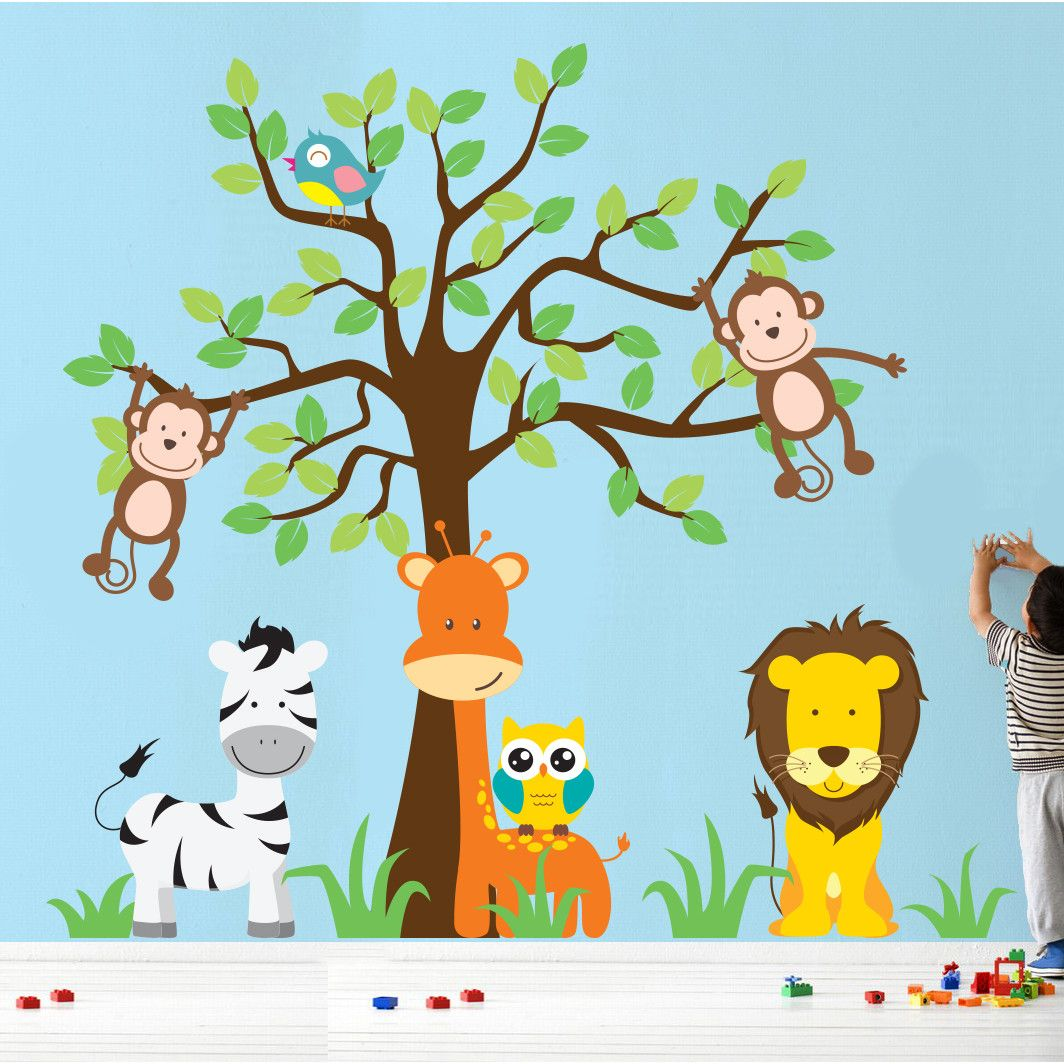 Jungle Theme Wall Decals For Nursery Wall Stencils For Baby - Jungle theme wall decals