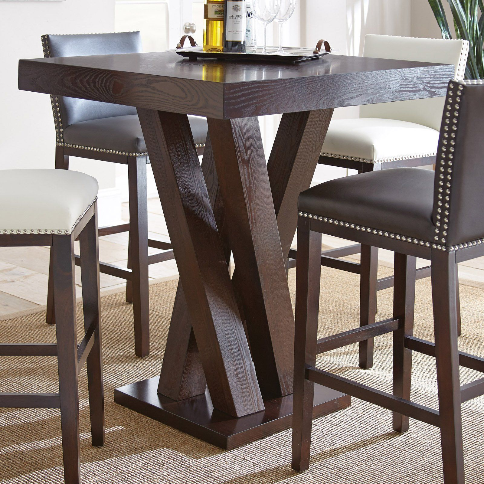 Steve Silver Tiffany Square Bar Height Table  From Hayneedle Captivating Dining Room Pub Table Sets Design Inspiration