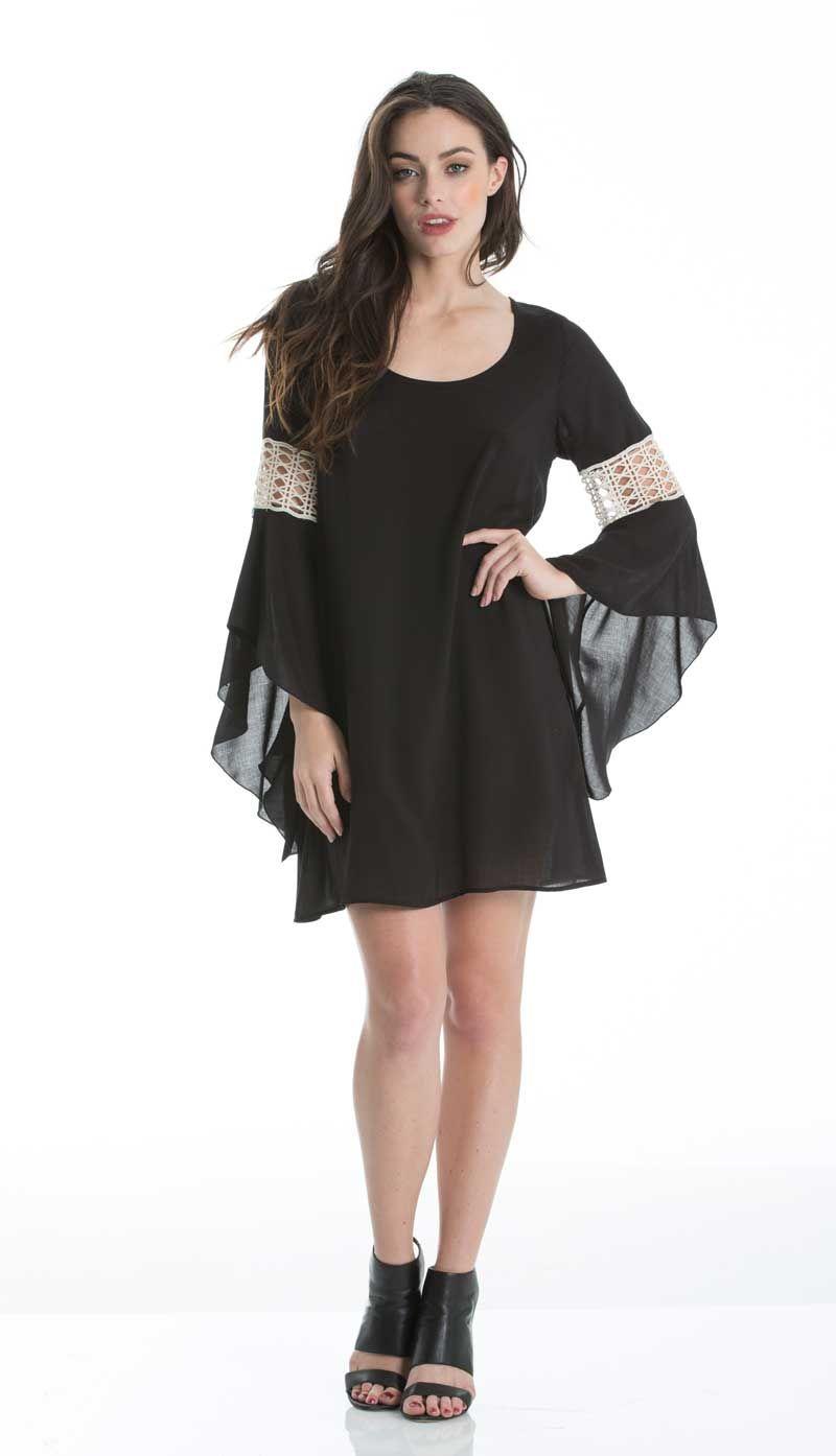 c952a73d2896 Elan Clothing Black Dress with Crotchet Detail Sleeves RYC5093 ...