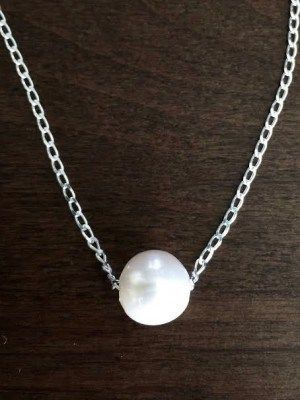 Simple Classic Pendant Necklace Everyday Jewelry Pearl Ring Pendant Wire Wrapped Pearl Necklace Christmas Gift Idea.