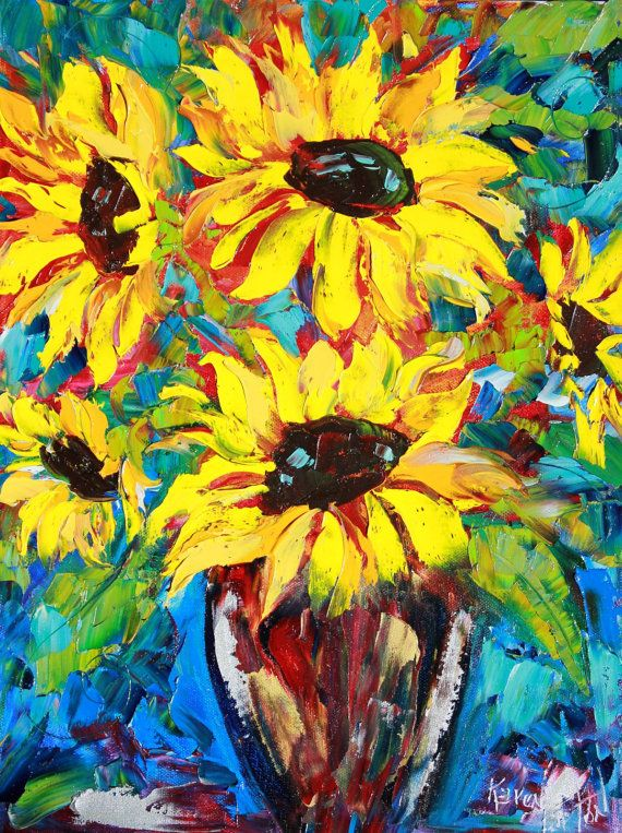 original painting sunflower abstract modern by