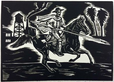 Image result for linocut of cowboy on horse