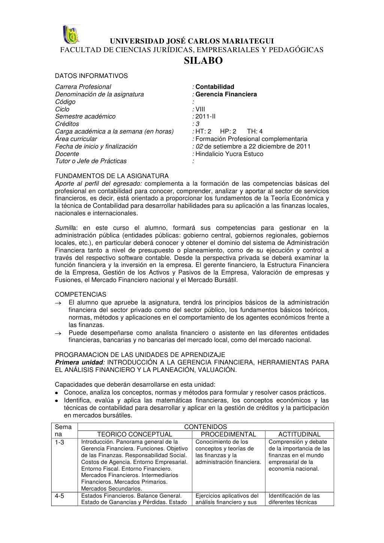 Silabo de gerencia financiera 2011 2 by Robinson Almanza via ...
