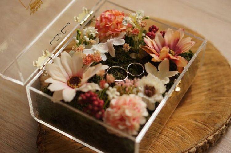 Wedding Ring Box Flower Cincin