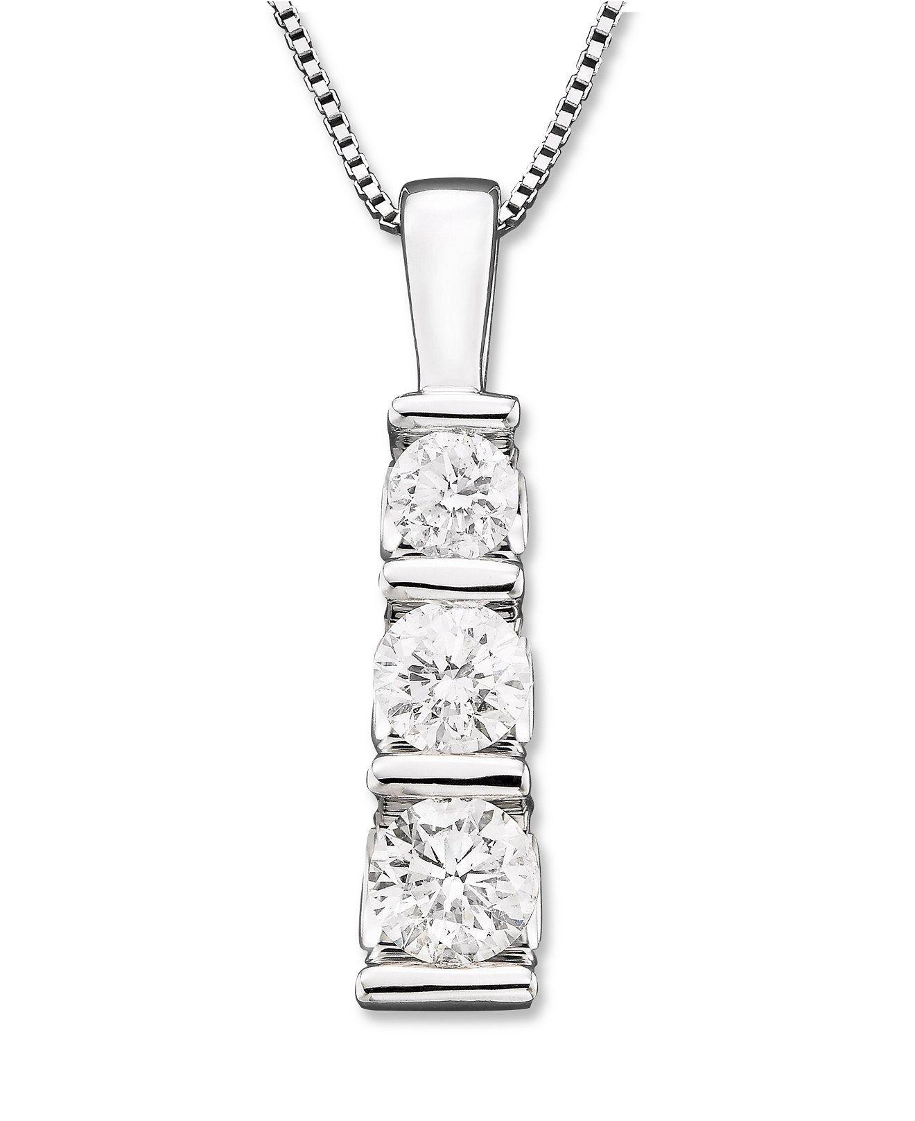 Three stone diamond pendant necklace in 14k white gold 12 ct tw three stone diamond pendant necklace in 14k white gold 12 ct tw mozeypictures Image collections