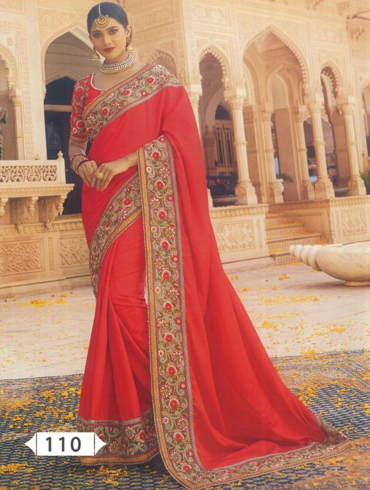 603d7ec5709db Indian Designer Red Heavy Embroidered Bollywood Sari Georgette Party Wear  Saree  fashion  clothing  shoes  accessories  worldtraditionalclothing ...