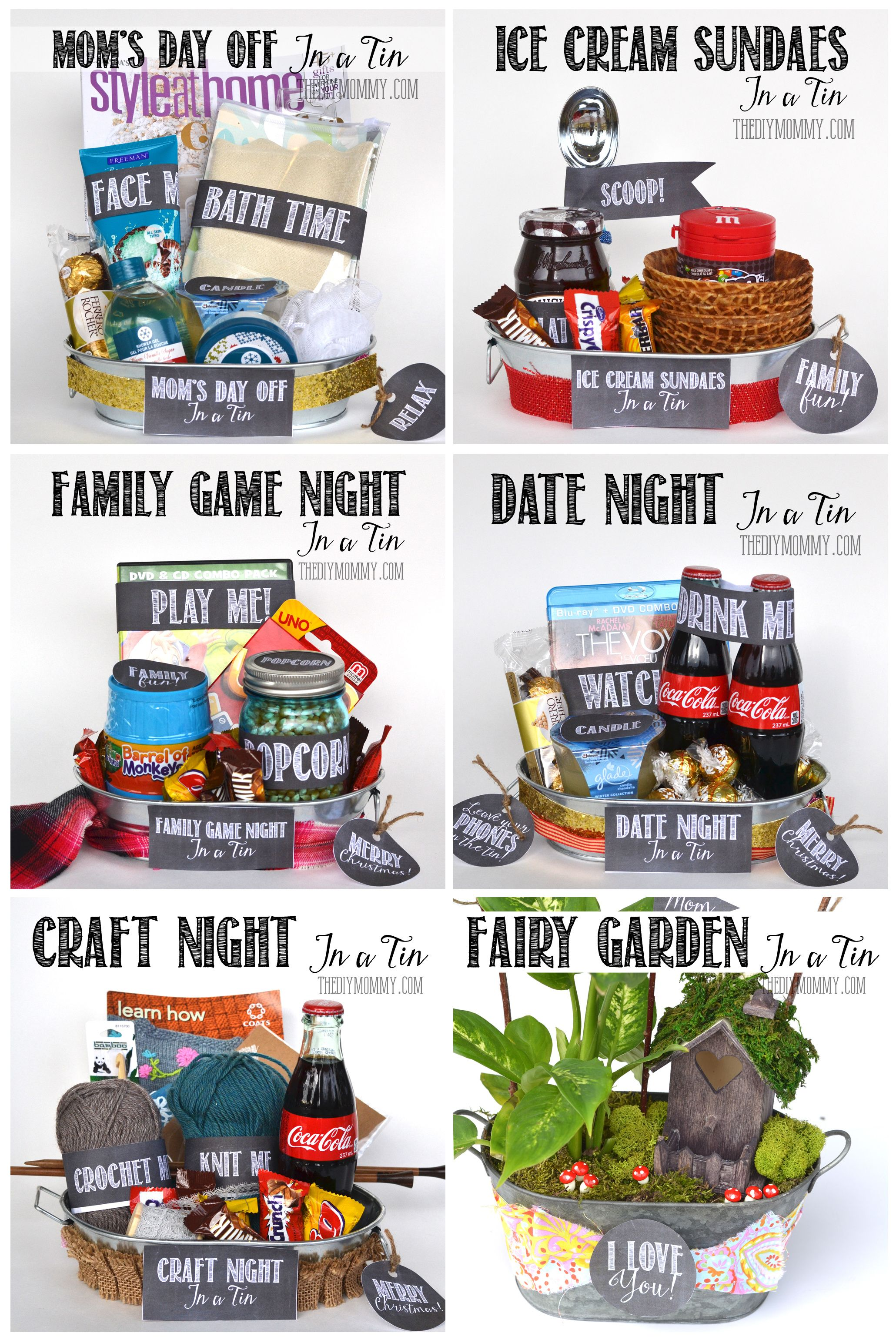 Tons of gifts in a tin ideas with free printables and a list of do it yourself gift basket ideas for all occassions non holiday gift in a tin ideas for family night game night movie night and more via the diy mommy solutioingenieria Image collections