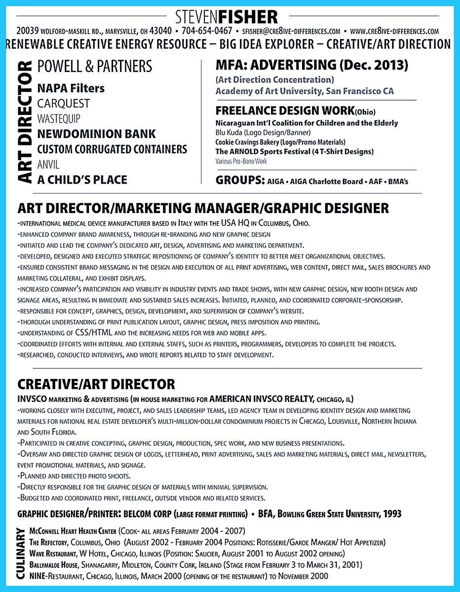 nice interactive art director resume that can impress your