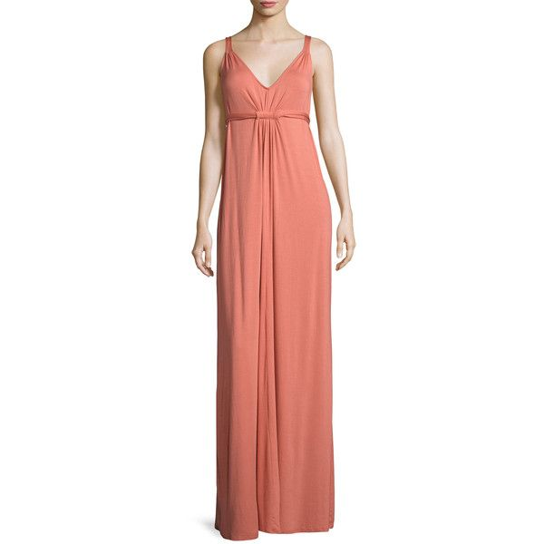 Rachel Pally Women's Quintana Maxi Dress - Pink, Size L ($125) ❤ liked on Polyvore featuring dresses, pink, pink knit dress, red v neck dress, red dress, ruched dresses and pink maxi dress