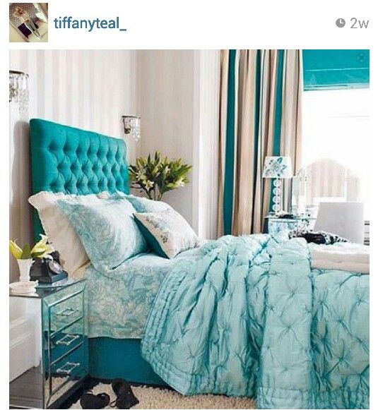 Beautiful Teal & White Bedroom
