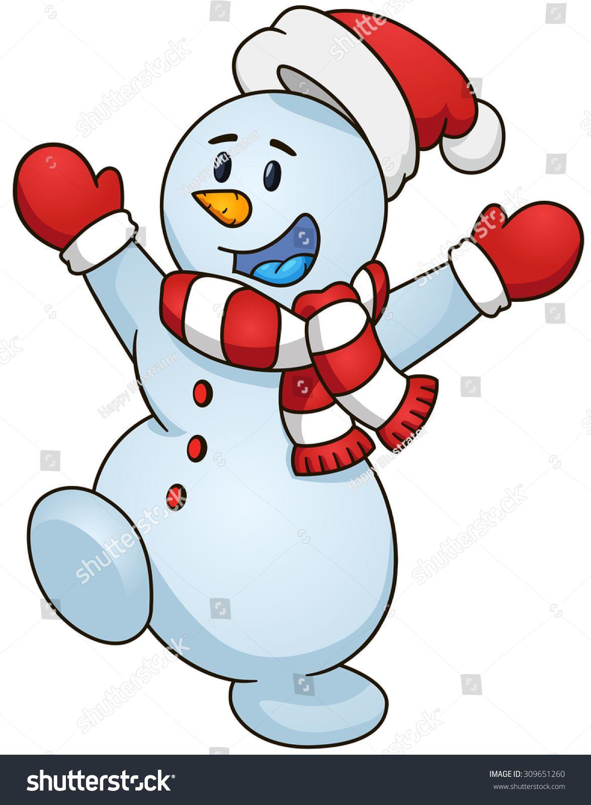 happy cartoon snowman vector clip art illustration with simple rh pinterest com au vector snow mountains vector snow cone