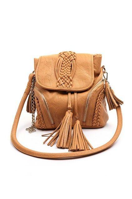 Elegant Plaited Bucket Shoulder Bag with Tassel Detail ...