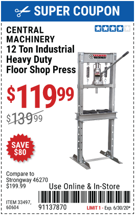 Central Machinery 12 Ton H Frame Industrial Heavy Duty Floor Shop Press For 119 99 In 2020 Harbor Freight Tools H Frame Frame Shop