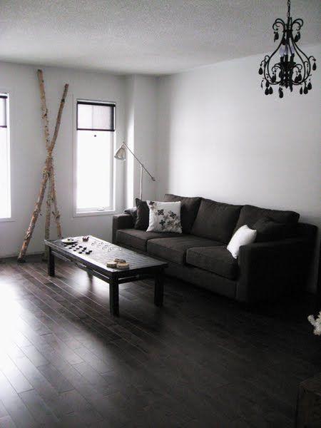 Dark Floor W Dark Couch Home Living Room Dark Wooden Floor